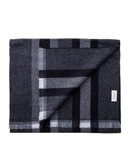 古驰GUCCI男女同款棕色编织提花双G条纹羊毛真丝围巾