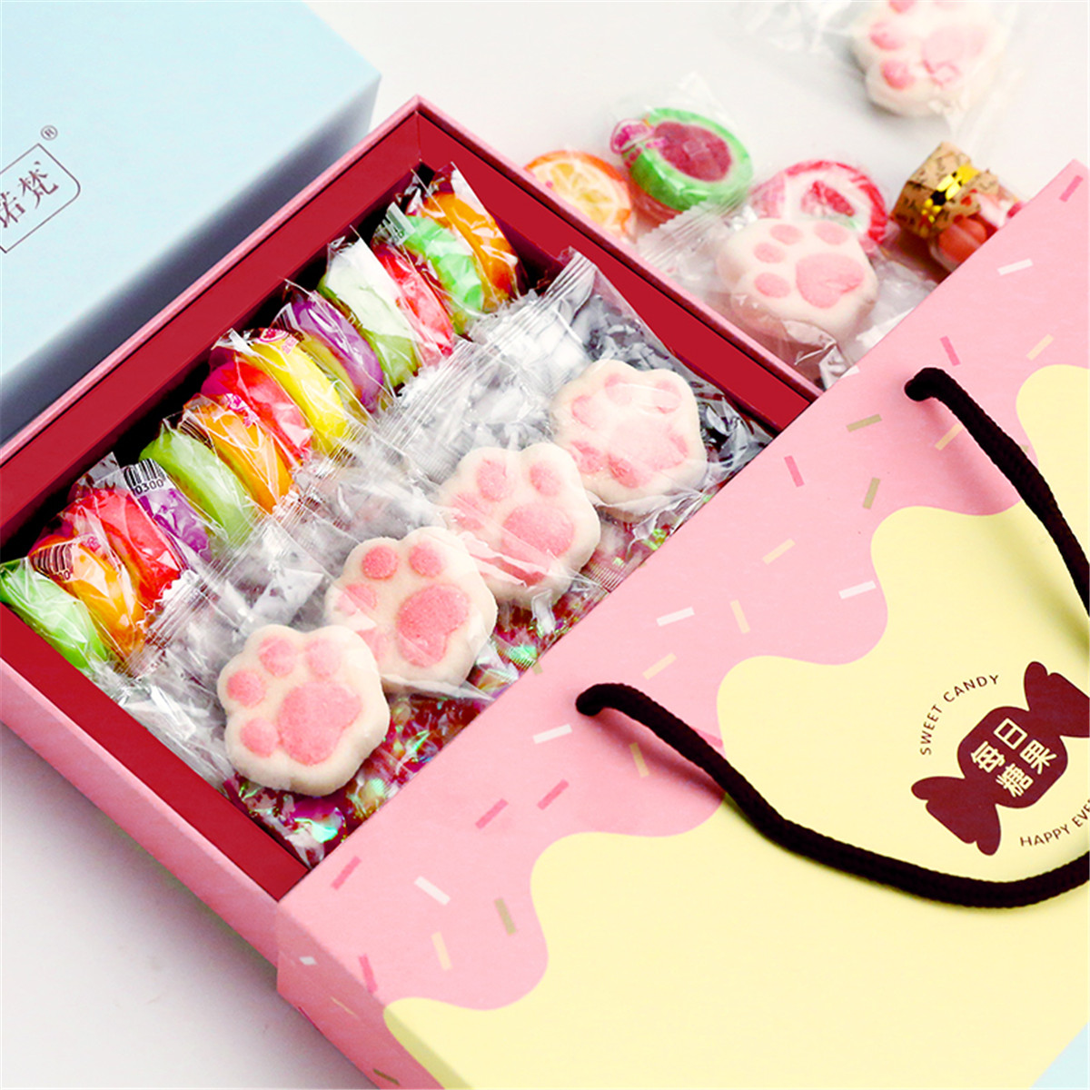 巧诺梵【糖果礼盒】硬糖混合口味散装棉花糖婚礼结婚喜糖儿童零食COLOR其它颜色