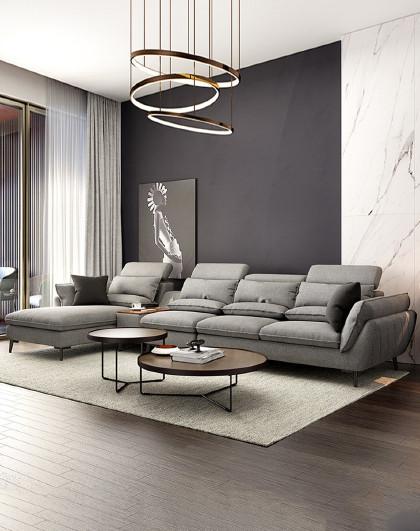 北欧实木沙发脚客厅转角布艺沙发组合皮布沙发套装家具