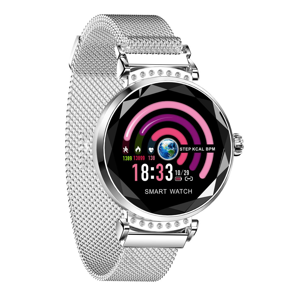 欧达新品圆屏智能手表彩屏血压监测女性周期提醒潮流防水手环H1/H2COLORH2银色