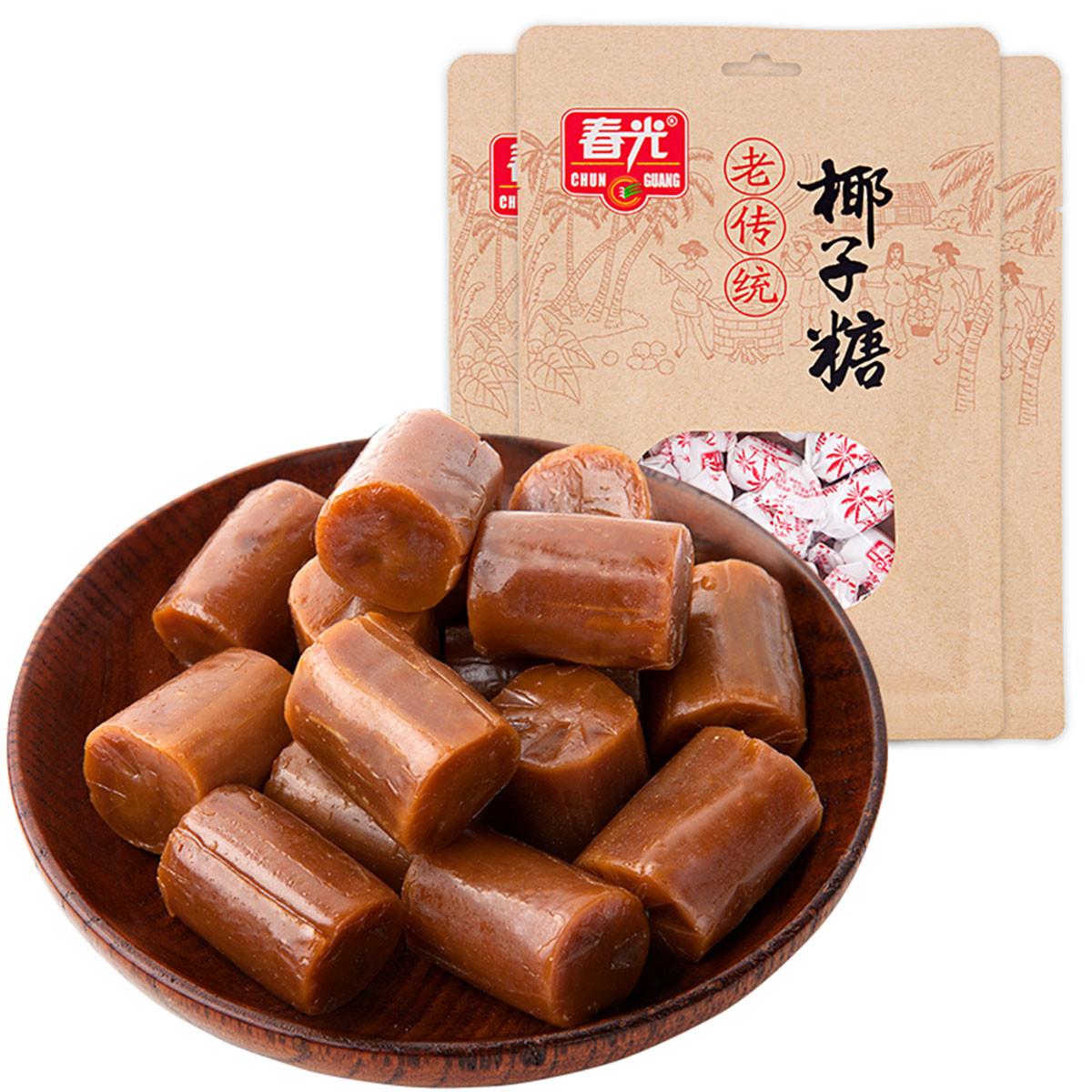 春光海南特产休闲食品水果糖糖果批发老传统椰子糖200g*6袋装COLOR银色