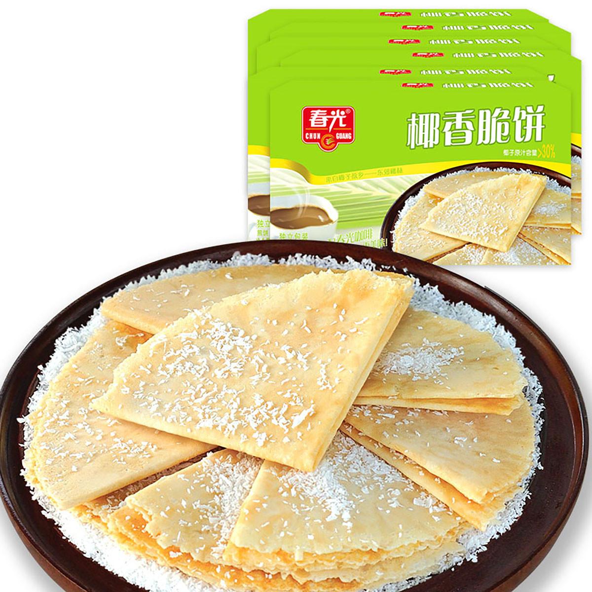 春光海南特产休闲食品早餐代餐下午茶饼干椰香脆饼105g*6盒COLOR其它颜色