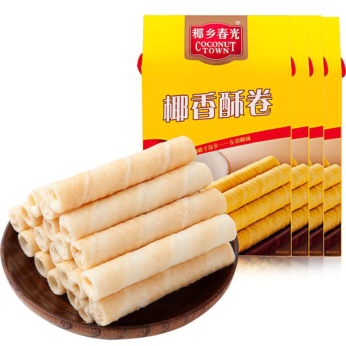 春光海南特产休闲零食早餐代餐下午茶饼干椰奶夹心酥卷238g*4盒装COLOR其它颜色