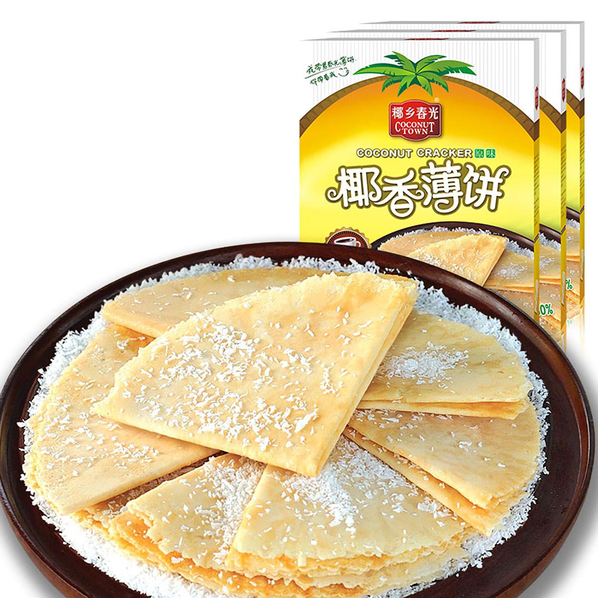 春光海南特产早餐下午茶手工饼干休闲零食小吃椰香薄饼300g*3盒装COLOR其它颜色