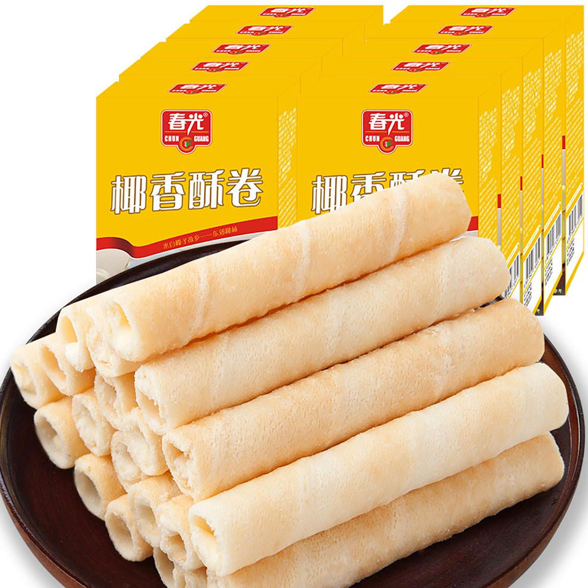 春光海南特产休闲零食早餐代餐下午茶饼干椰奶夹心酥卷60g*10盒COLOR银色