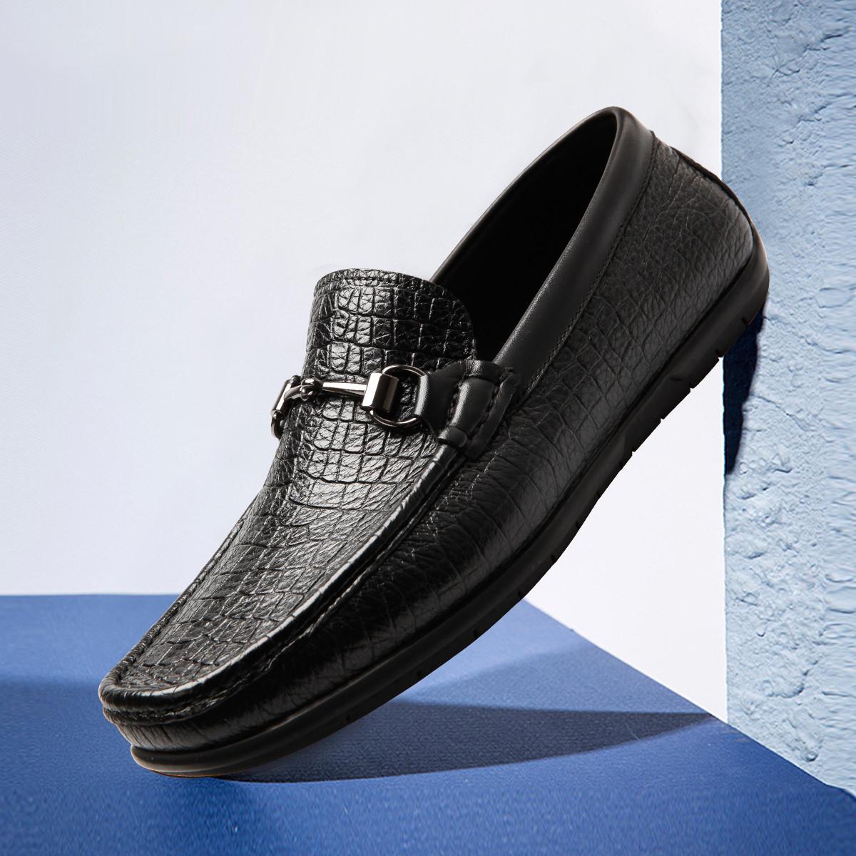 皮尔·卡丹【珍稀鹿皮】2019新品奢华柔软鹿皮配牛皮压纹皮鞋男鞋男士皮鞋P9101G560412A00