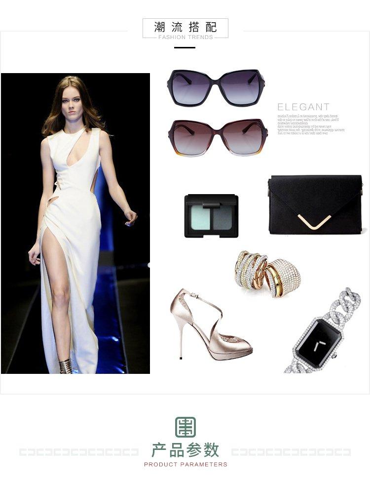 时尚优雅方框百搭偏光女士太阳镜宝石蓝