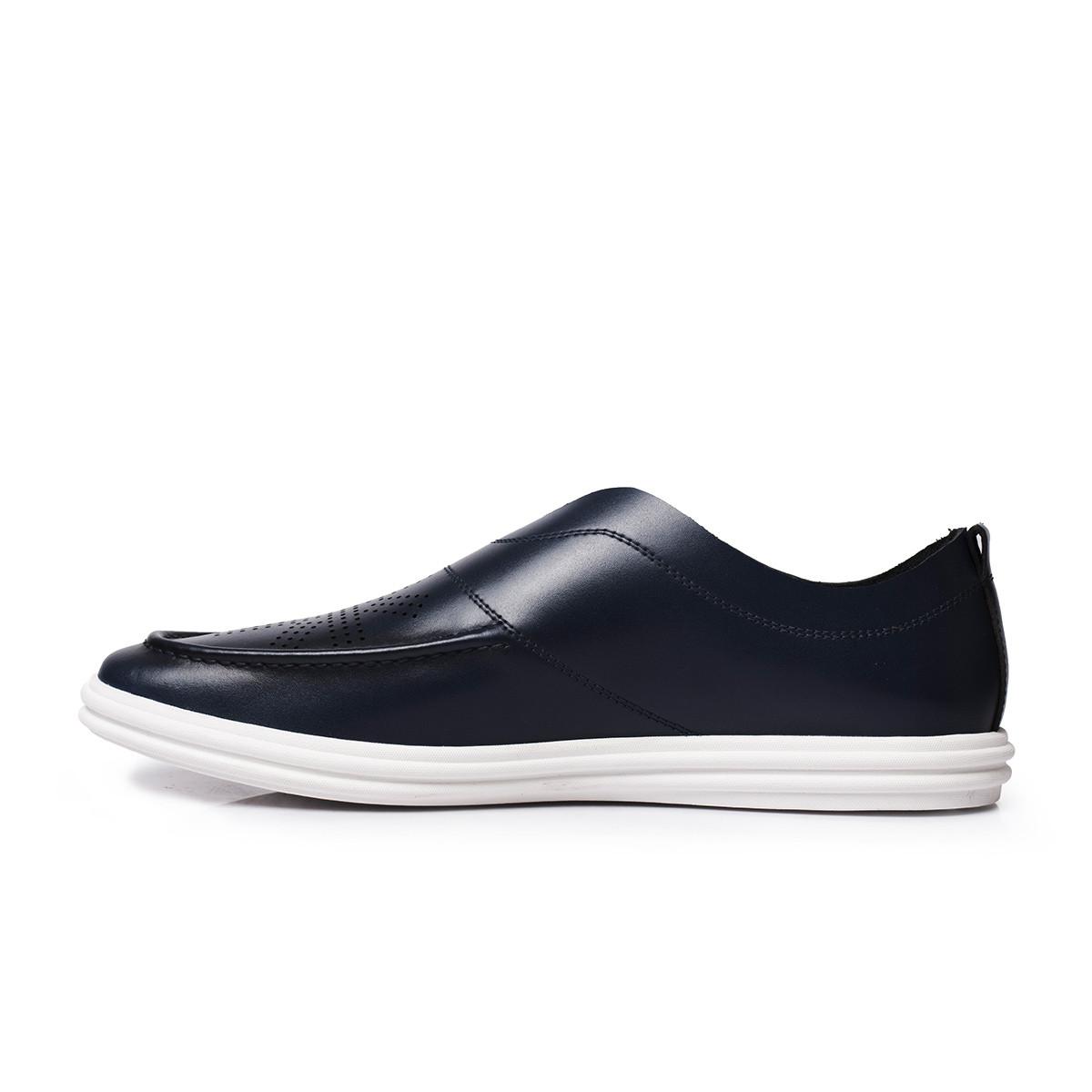 策恩策恩春季新款男士皮鞋 镂空真皮懒汉鞋休闲透气一脚蹬男鞋CF6O39-600