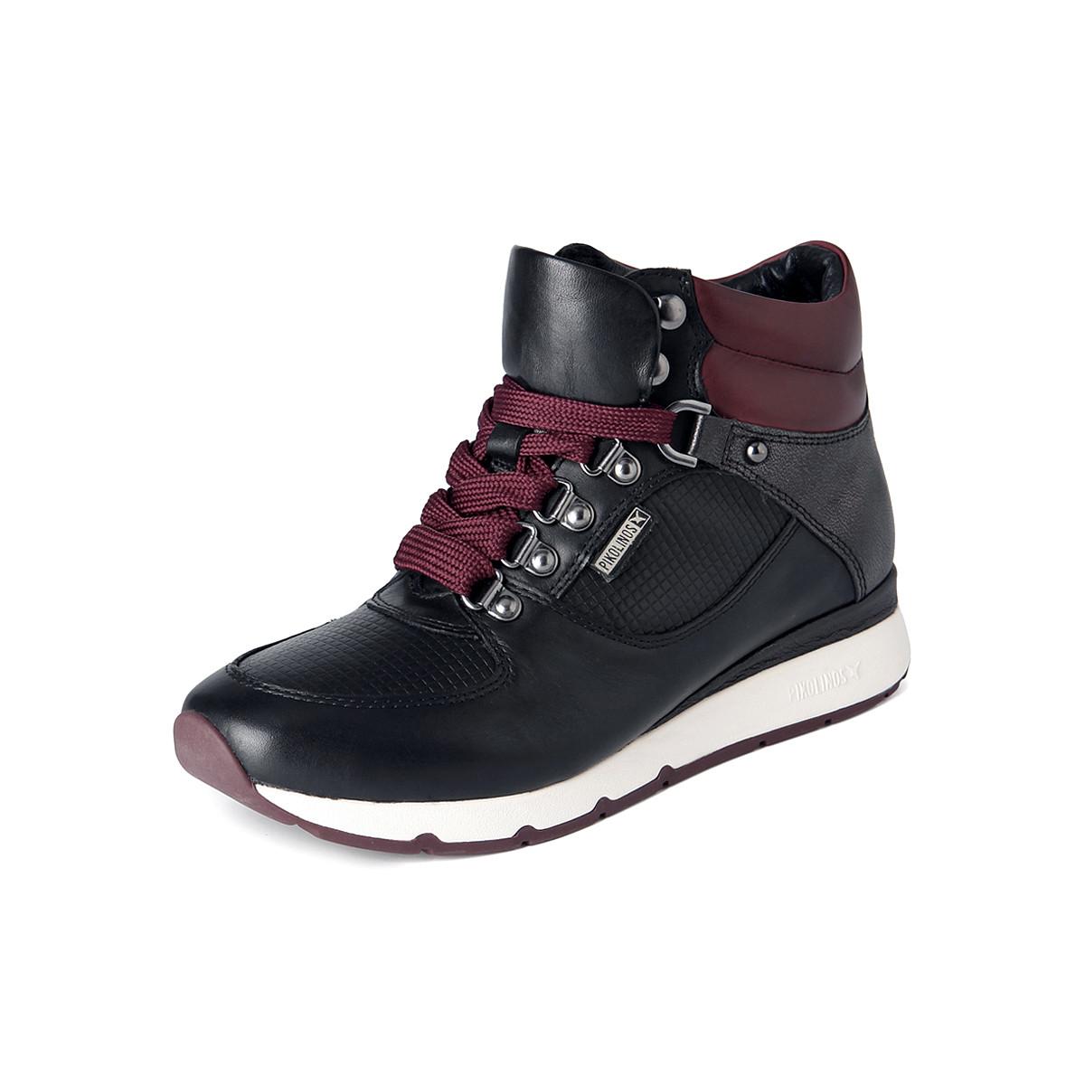 派高雁【布鲁塞尔系列】派高雁头层牛皮革系带休闲运动靴PA85305-黑色
