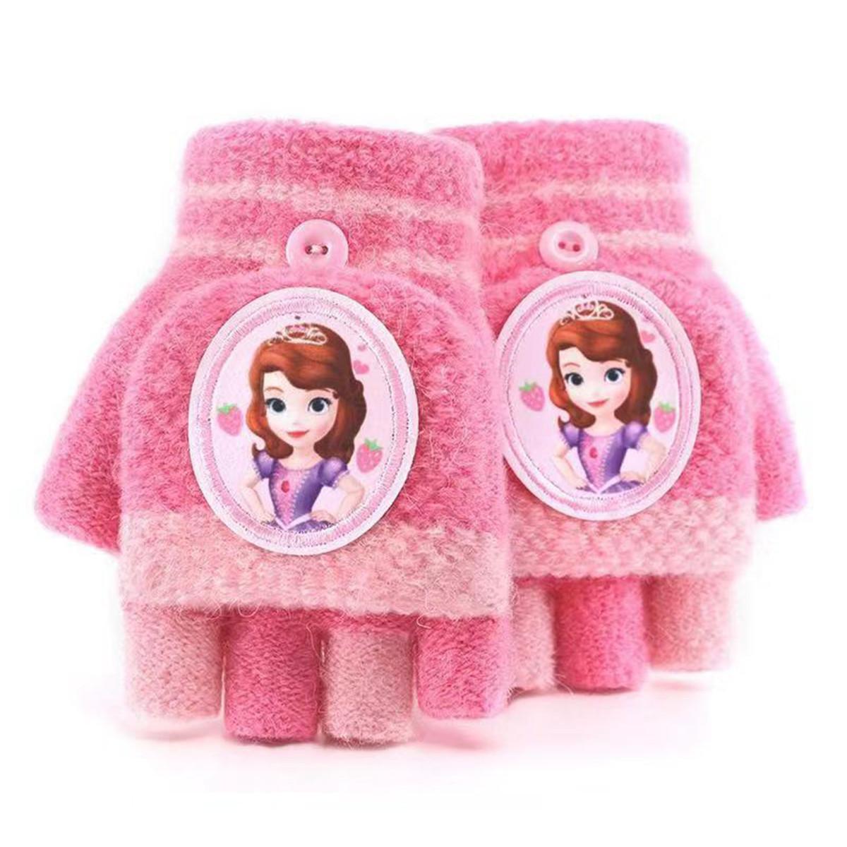迪士尼迪士尼儿童手套男童女童半指翻盖宝宝小孩五指可爱冬季保暖小学生SS70100-2