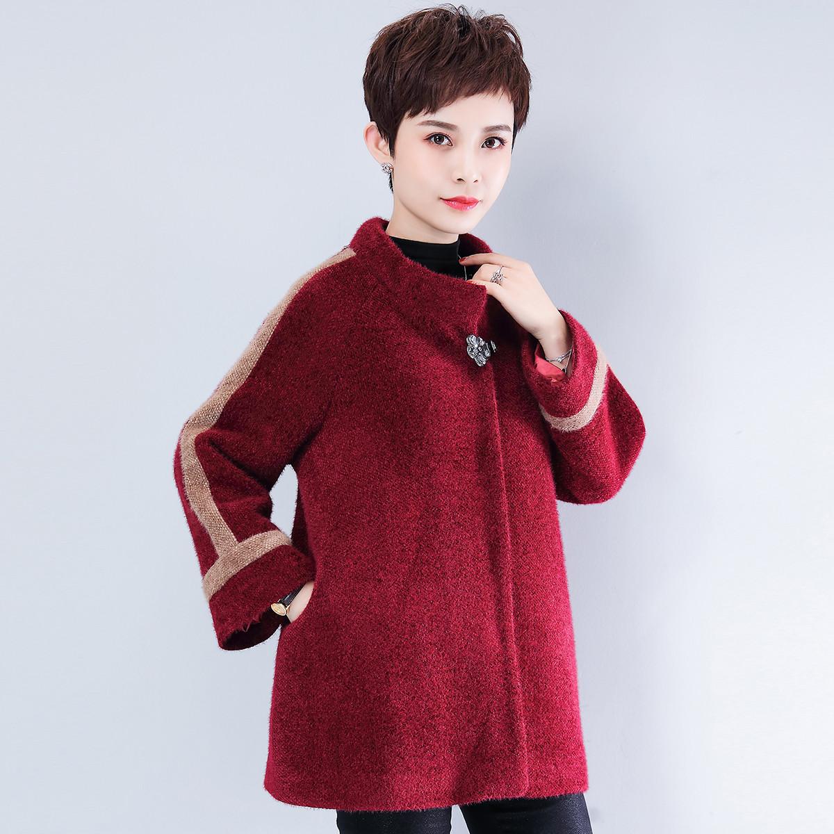 麦子熟了麦子熟了2019冬上新中老年女装妈妈装立领外套V9194728A红色