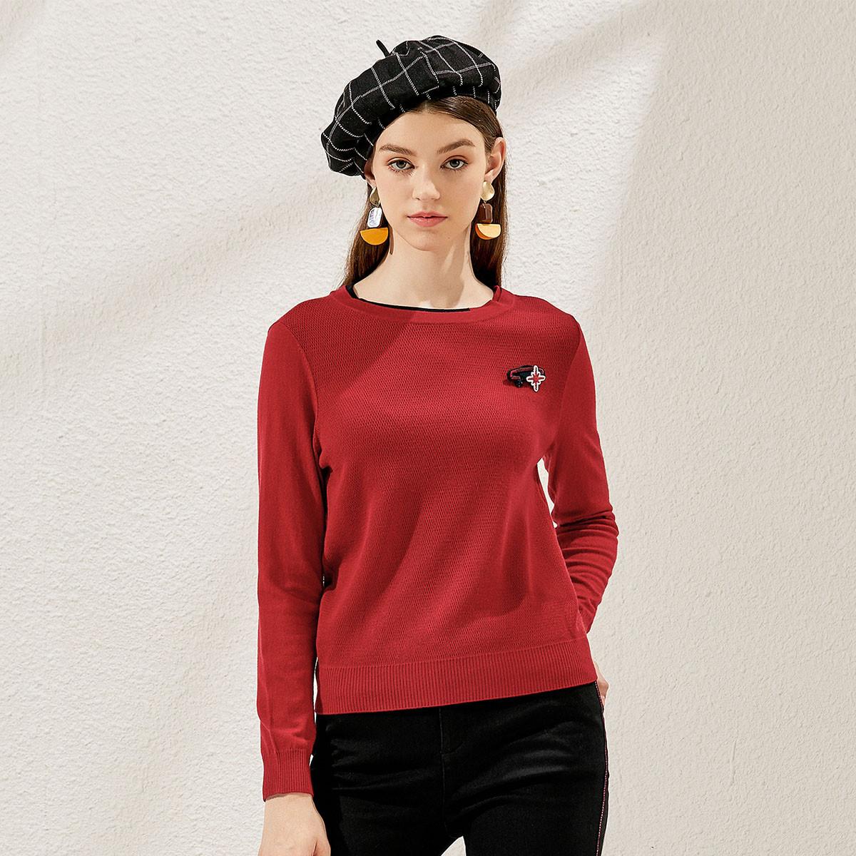 珂莱蒂尔2019秋冬装新款纯色圆领长袖百搭弹力时尚女人味女式针织衫T恤K1AGH207709