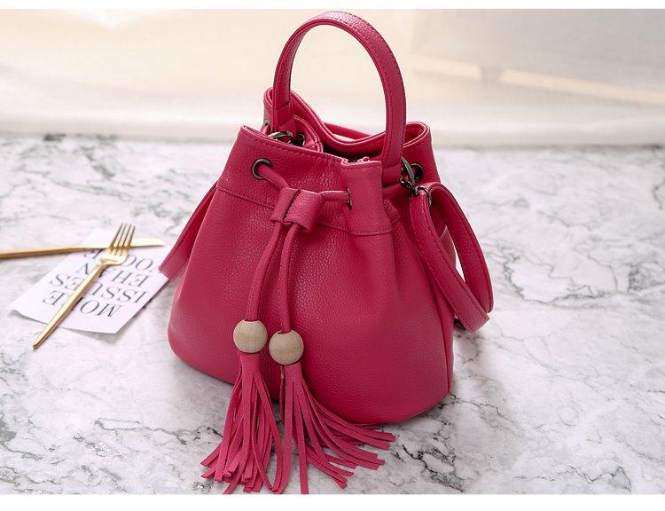 女款时尚水桶包玫红