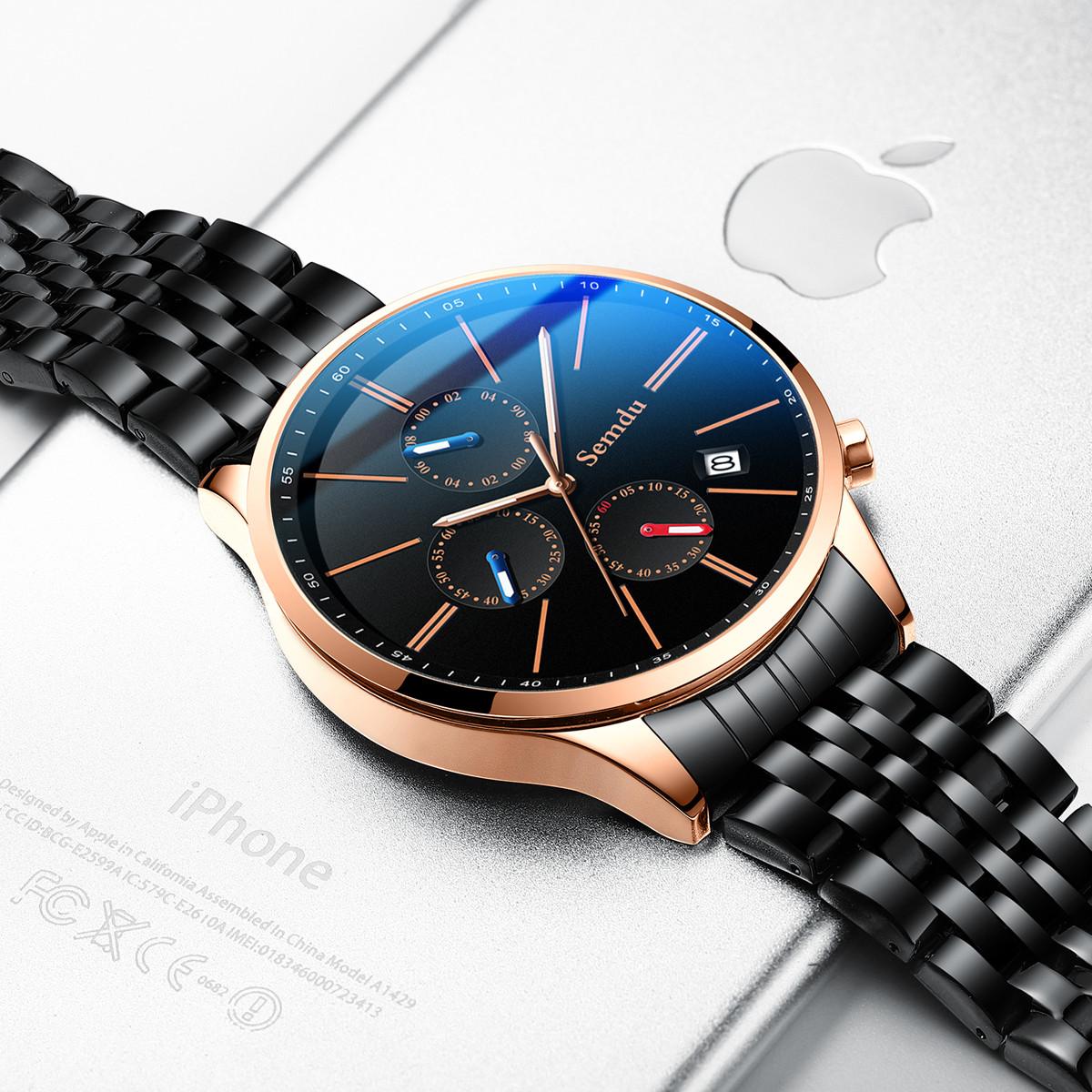 绅度【正品授权】新概念腕表指针系列时尚钢带休闲商务石英男士手表SD9223GRB