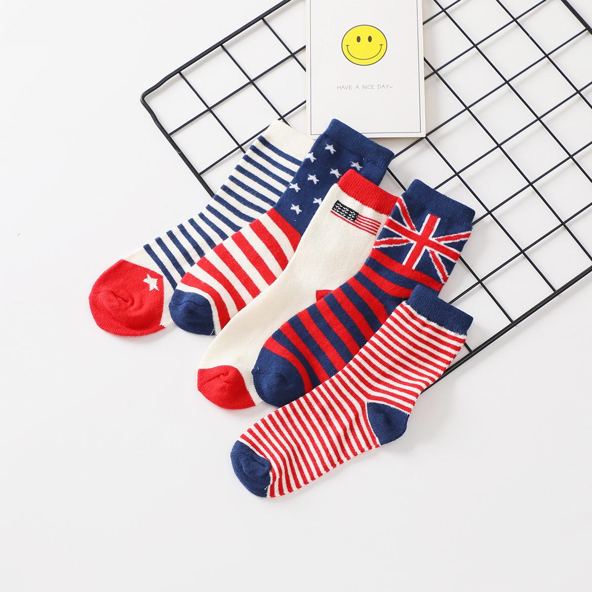 红豆居家红豆居家秋冬新款厚款舒适透气中大童袜男童袜子5双礼盒装T9W503WQQJAZ11
