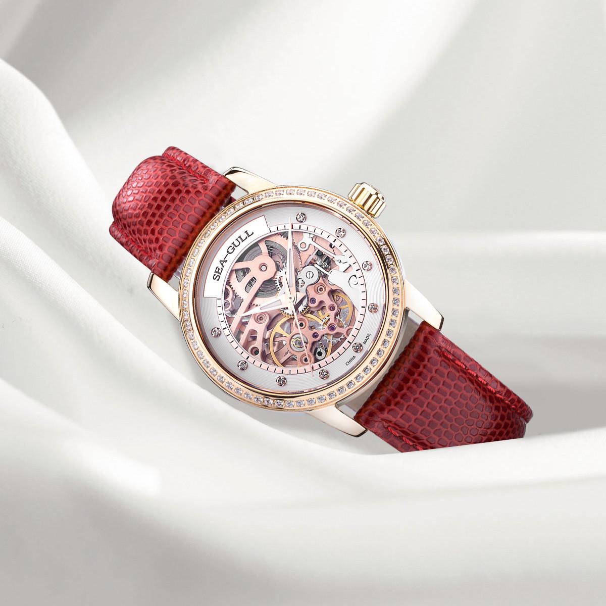 海鸥【专柜同款】女士自动机械表镂空水钻时尚百搭潮流女表手表174919403LK17