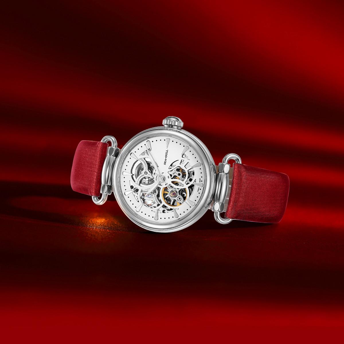 海鸥【畅销推荐】女士机械手表镂空绢带时尚潮流自动机械女士手表女表TO0D013634L17