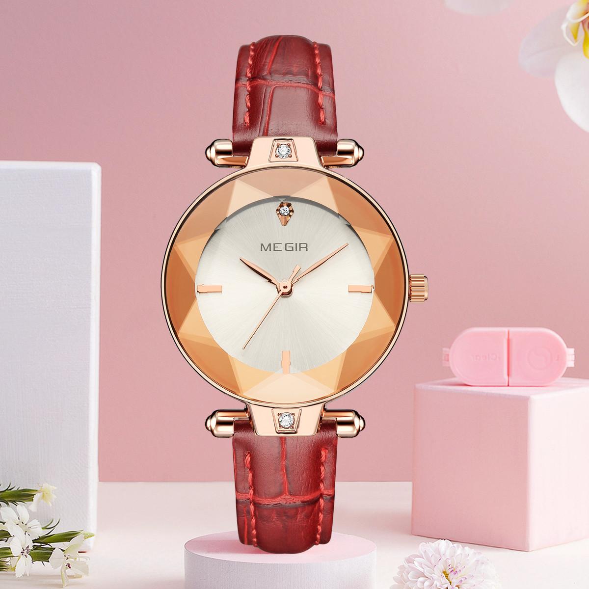 美格尔畅销多面切割手表女表进口机芯极简时尚皮带防水女士手表ML4209LRERD-7N0