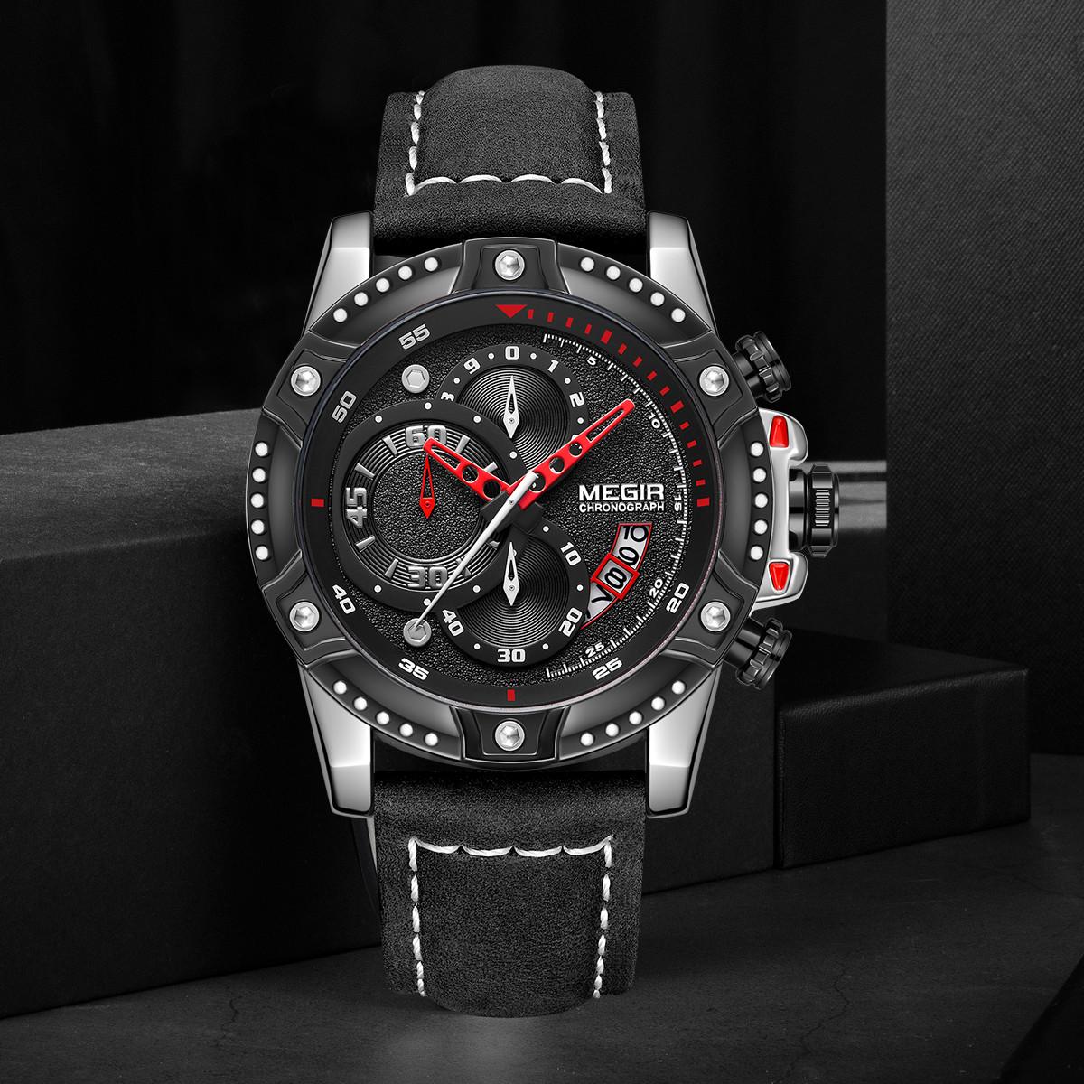 美格尔时尚潮流手表男表多功能计时个性皮带男士手表ML2130GS-BK-1