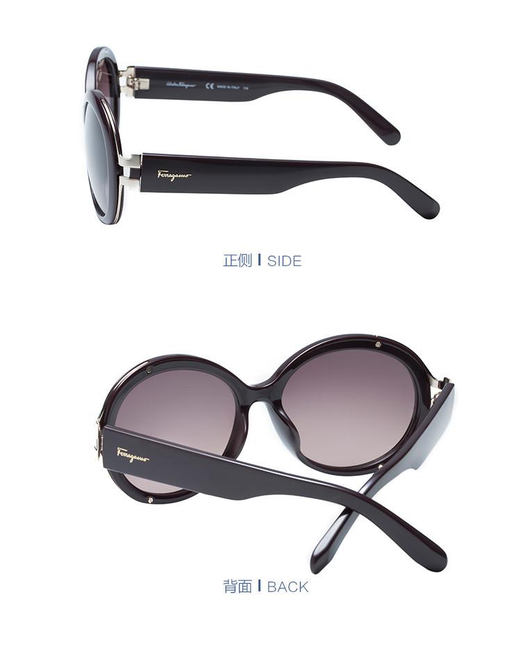 奢品眼镜专场 菲拉格慕古典系列弧边圆型大框太阳镜棕黑色/棕色片