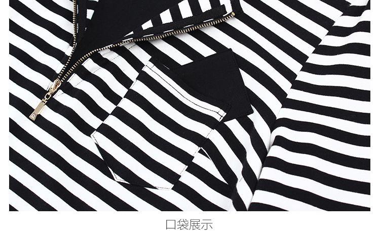 纤莉秀大码黑色率性条纹连衣裙qb4ll2927h01