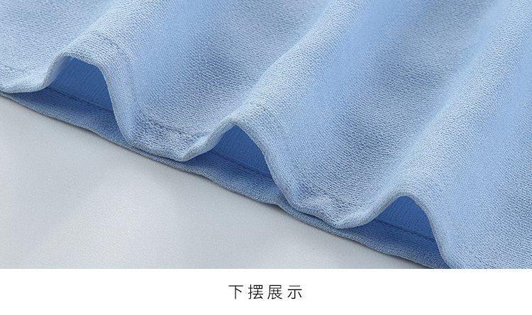 优雅名媛纯色连衣裙浅蓝色