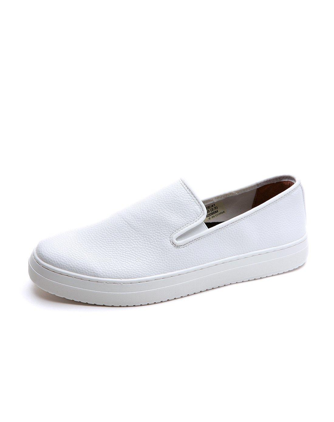快乐玛丽春季时尚平底套脚素面小白平跟休闲鞋男鞋子WT2095M02
