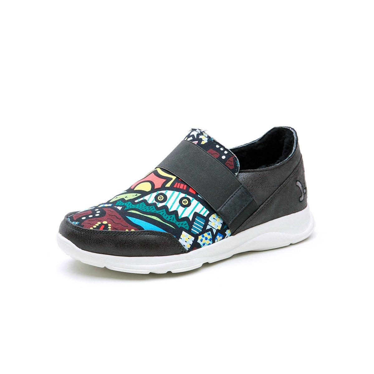 快乐玛丽春秋季运动风涂鸦时尚松紧带套脚个性加绒男鞋QR8030M53