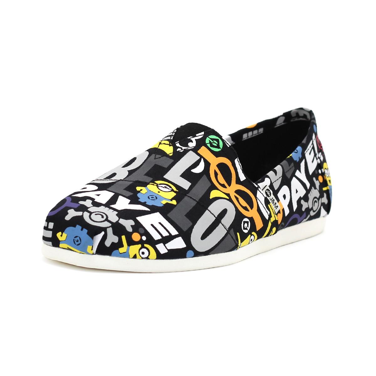 快乐玛丽夏季新款神偷奶爸小黄人男鞋时尚个性涂鸦帆布鞋懒人鞋61961M01