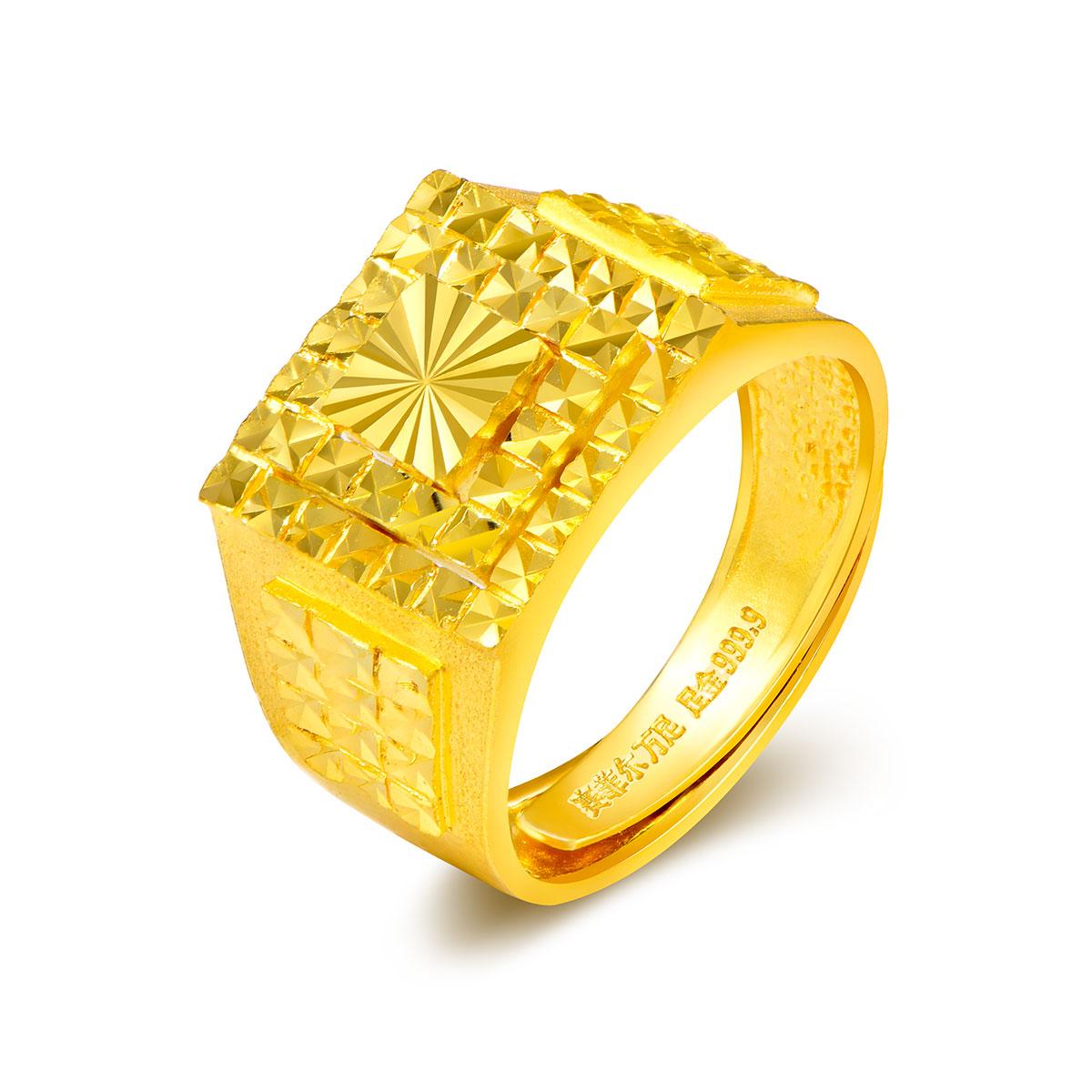 赛菲尔赛菲尔万足闪耀多层方形仿钻足金999.9男士黄金戒指计价ASFEb071