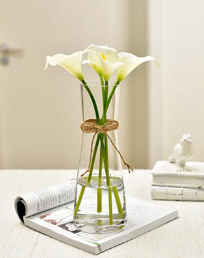 欧式客厅家居摆设干花装饰品仿真马蹄莲假花透明插花玻璃花瓶摆件