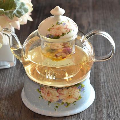 花茶壶套装欧式家居水果茶花草茶下午茶蜡烛加厚耐热玻璃茶壶套装