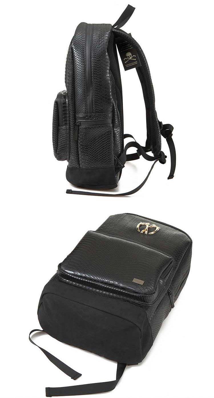 蛇皮黑色双肩包黑色 商品分类: 男款双肩包 材质: pu 图案: 条纹 包袋
