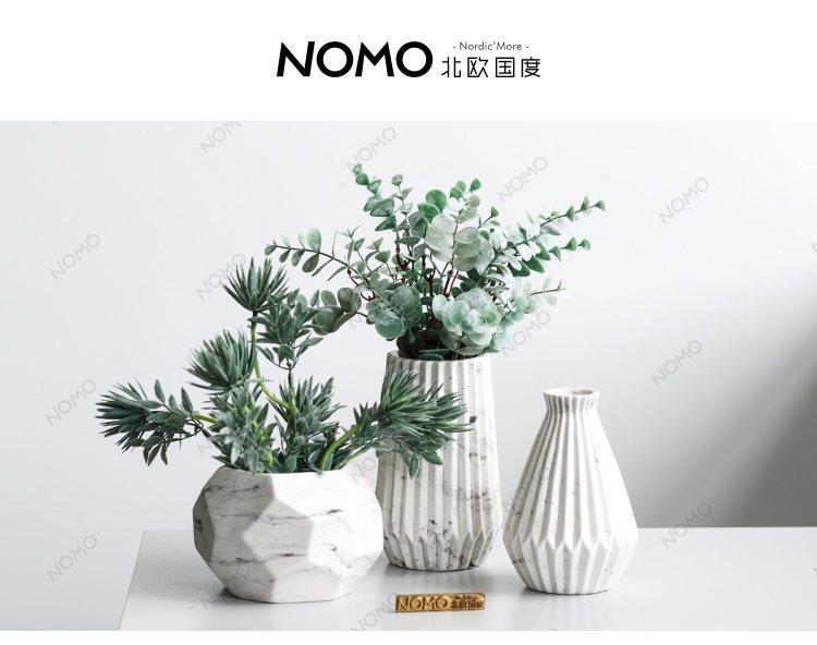 瓦萨利大理石纹陶瓷花瓶 北欧风桌面花插摆件 仿真蕨类植物绿植套装图片