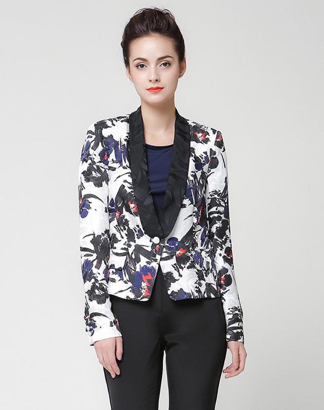维欧艾VOA一粒扣提花西装女外套通勤长袖短款黑白色真丝上衣W625627