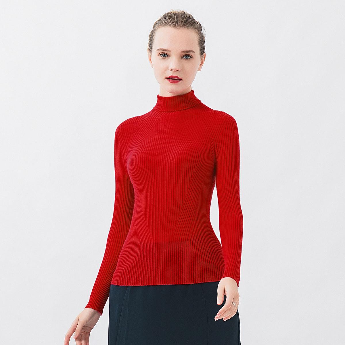 维欧艾VOA纯羊绒显瘦无缝移针60支精纺女高领长袖凹凸条修身高弹套衫RL112868