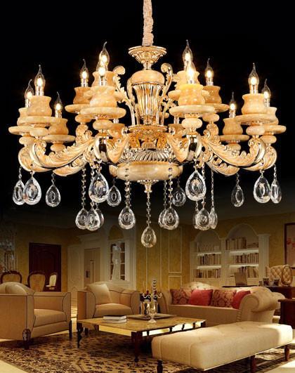 天然玉石欧式客厅灯 锌合金卧室餐厅水晶吊灯具