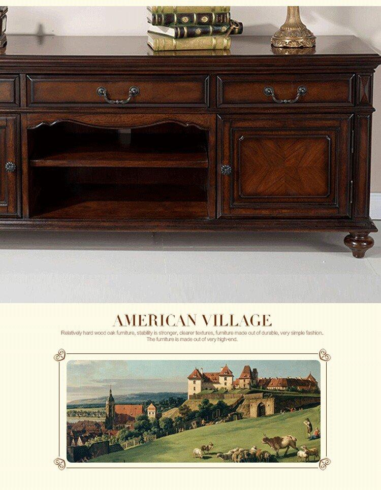 特价清仓简约美式实木雕花地柜电视柜