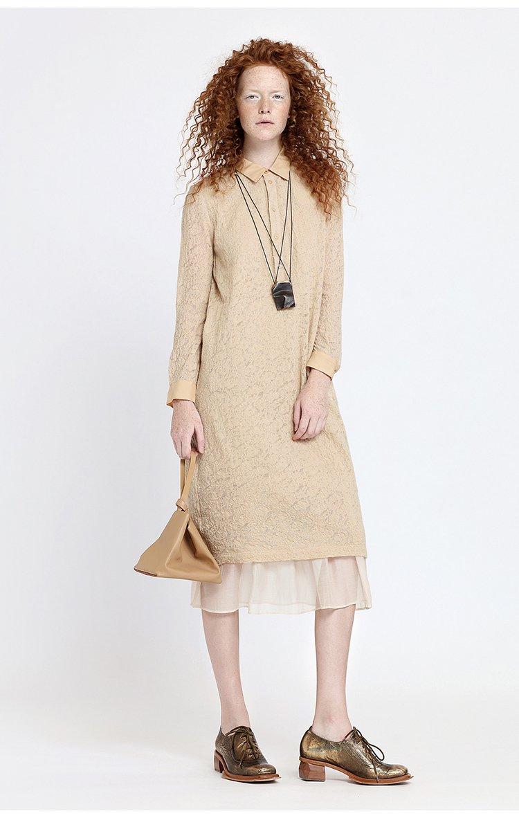 羊毛针织提花中长款衬衫领连衣裙
