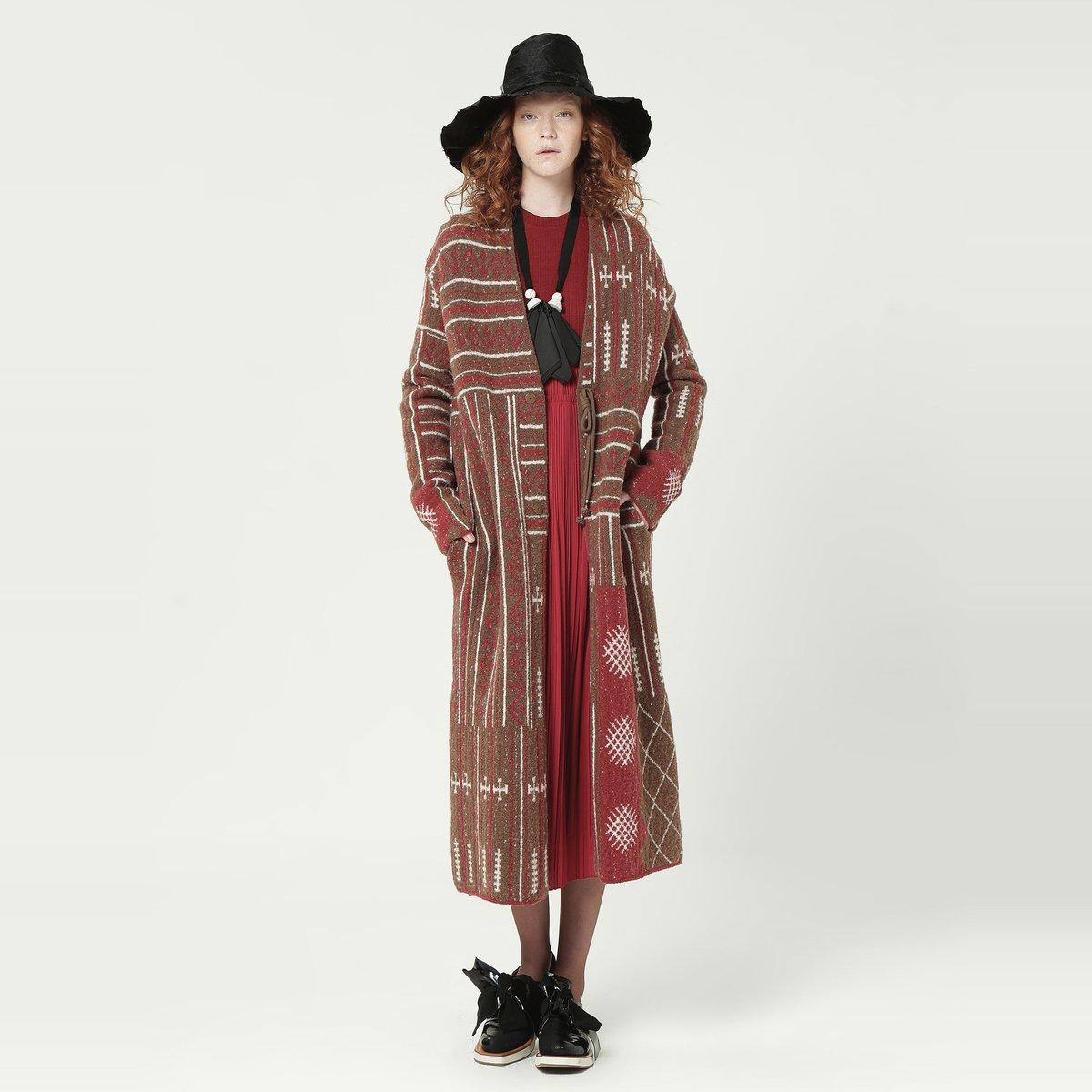 EINEIN言羊毛不对称名族风提花开衫外套EK1104941803
