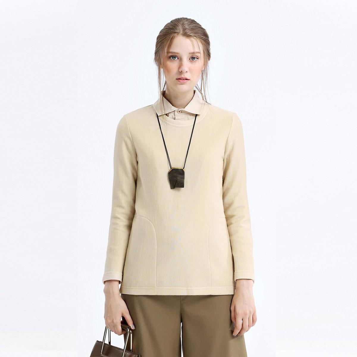 EIN羊毛针织空气层箱型宽松上衣女休闲长袖恤秋装新款EIN言EI0103831200