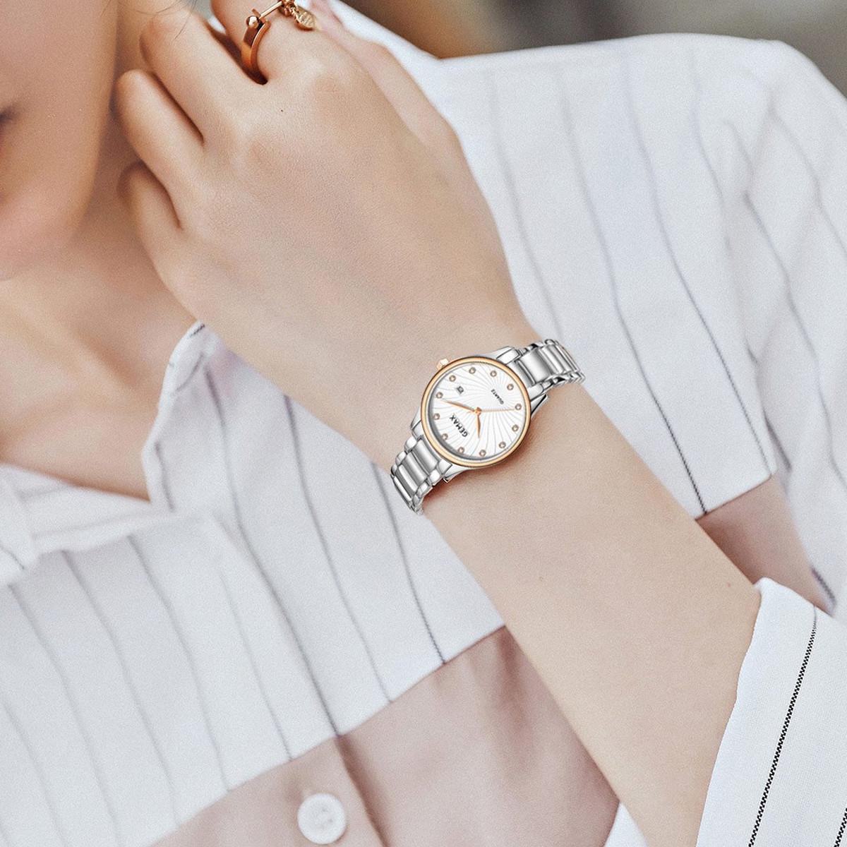 格玛仕正品专柜同款女士手表简约通勤镶钻带日历纤薄石英女士防水手表52223-CPR-DW