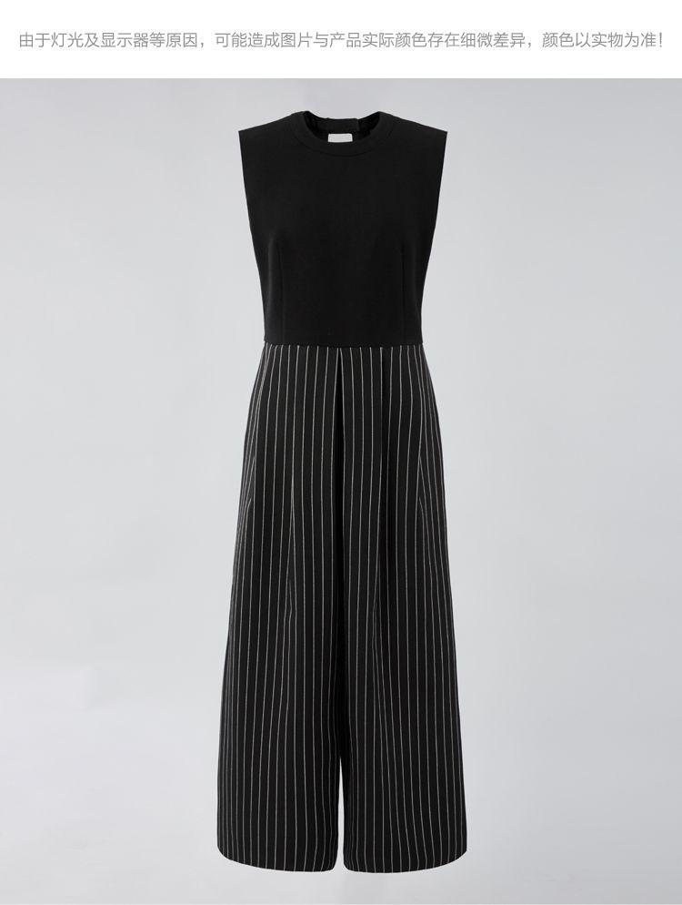 黑色时尚条纹连体裤