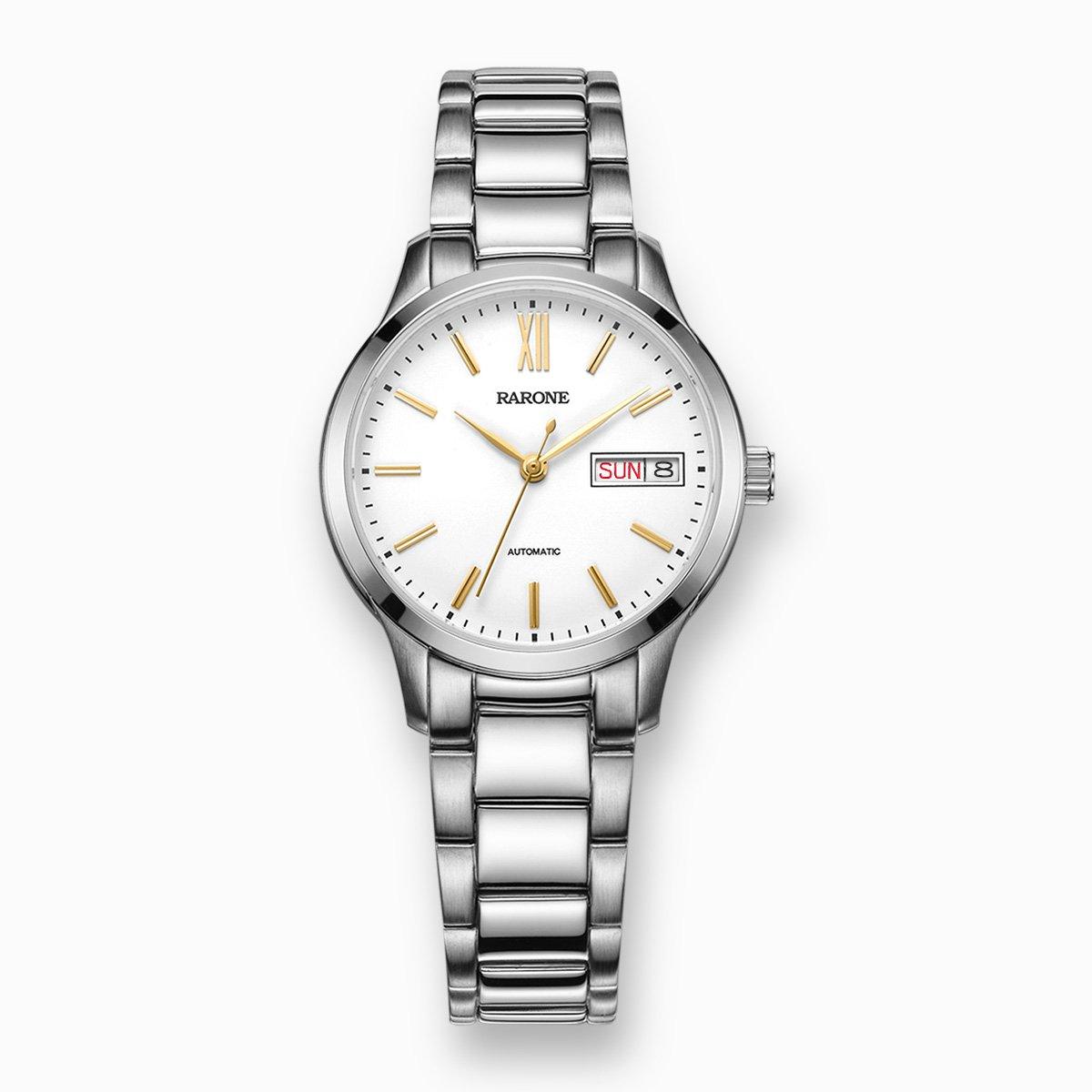 雷诺【商务经典热销款】女士机械手表全自动双日历钢带防水女表884028F1101