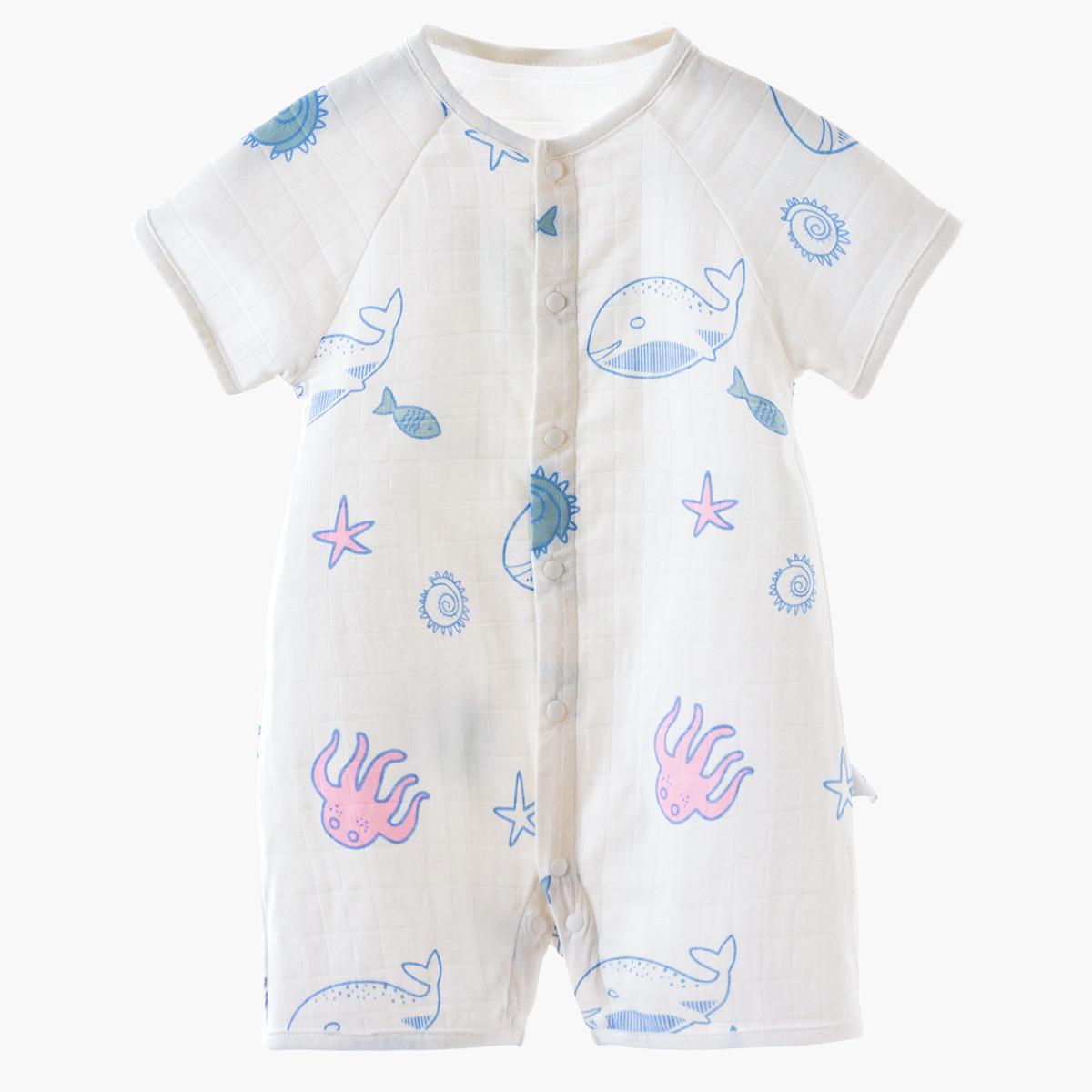 棉店棉店深海乐园纱布前开短袖哈衣连体衣6-36个月新生婴幼儿宝宝19C2B23608201