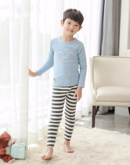 男童热力棉厚款保暖家居服睡衣儿童内衣套装