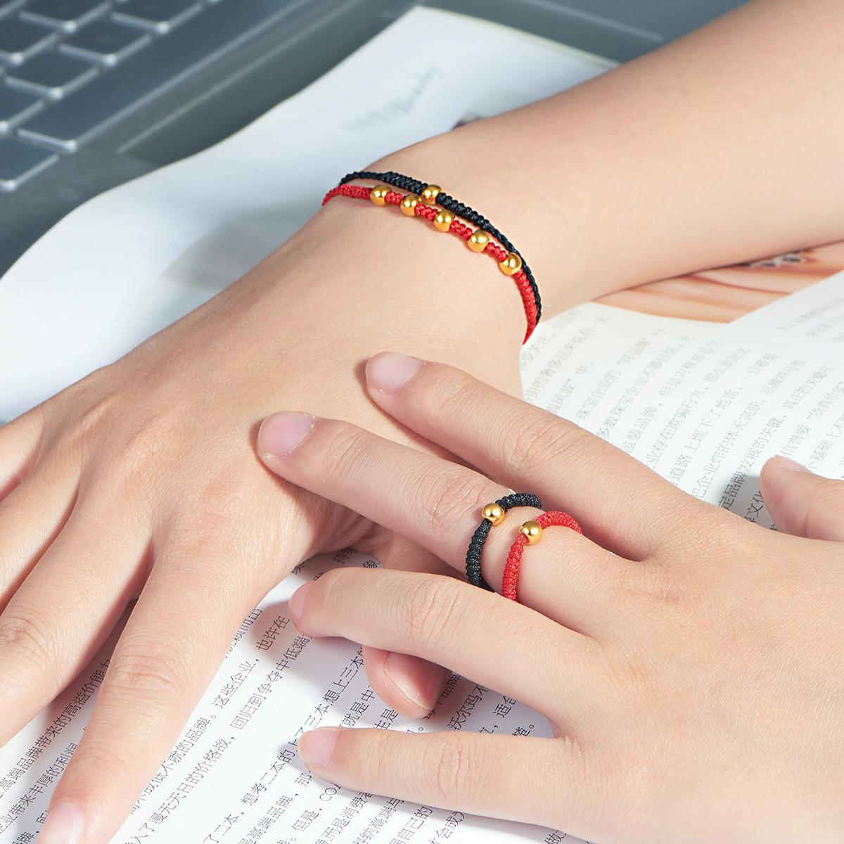 曼卡龙抖音同款小金珠黄金戒指3D硬金足金转运珠戒指指环手工红绳手链XJZJH