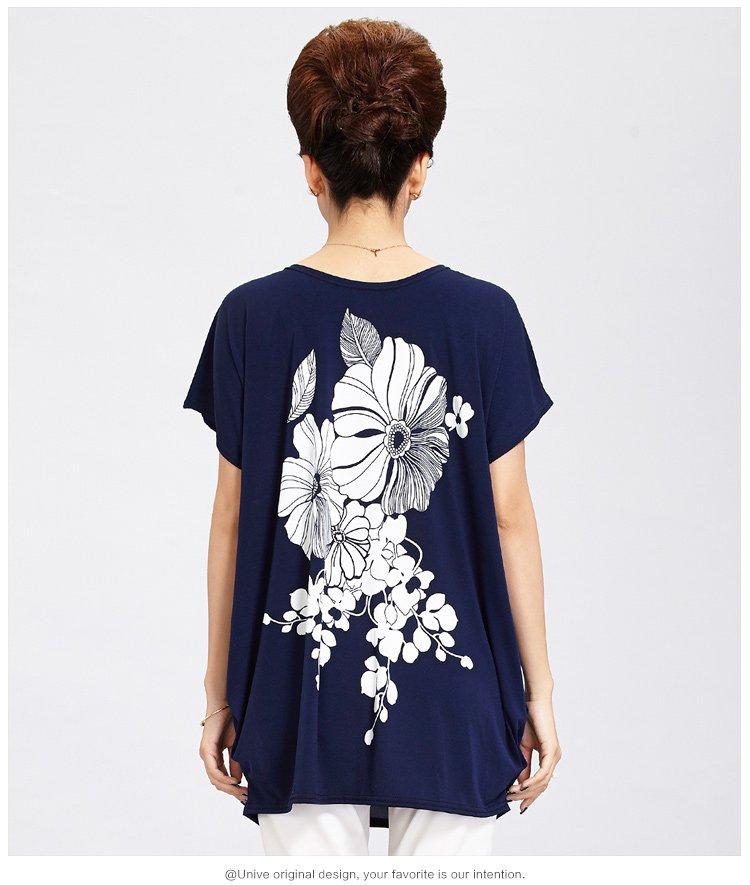袖时尚_新品圆领蝙蝠袖时尚印花t恤