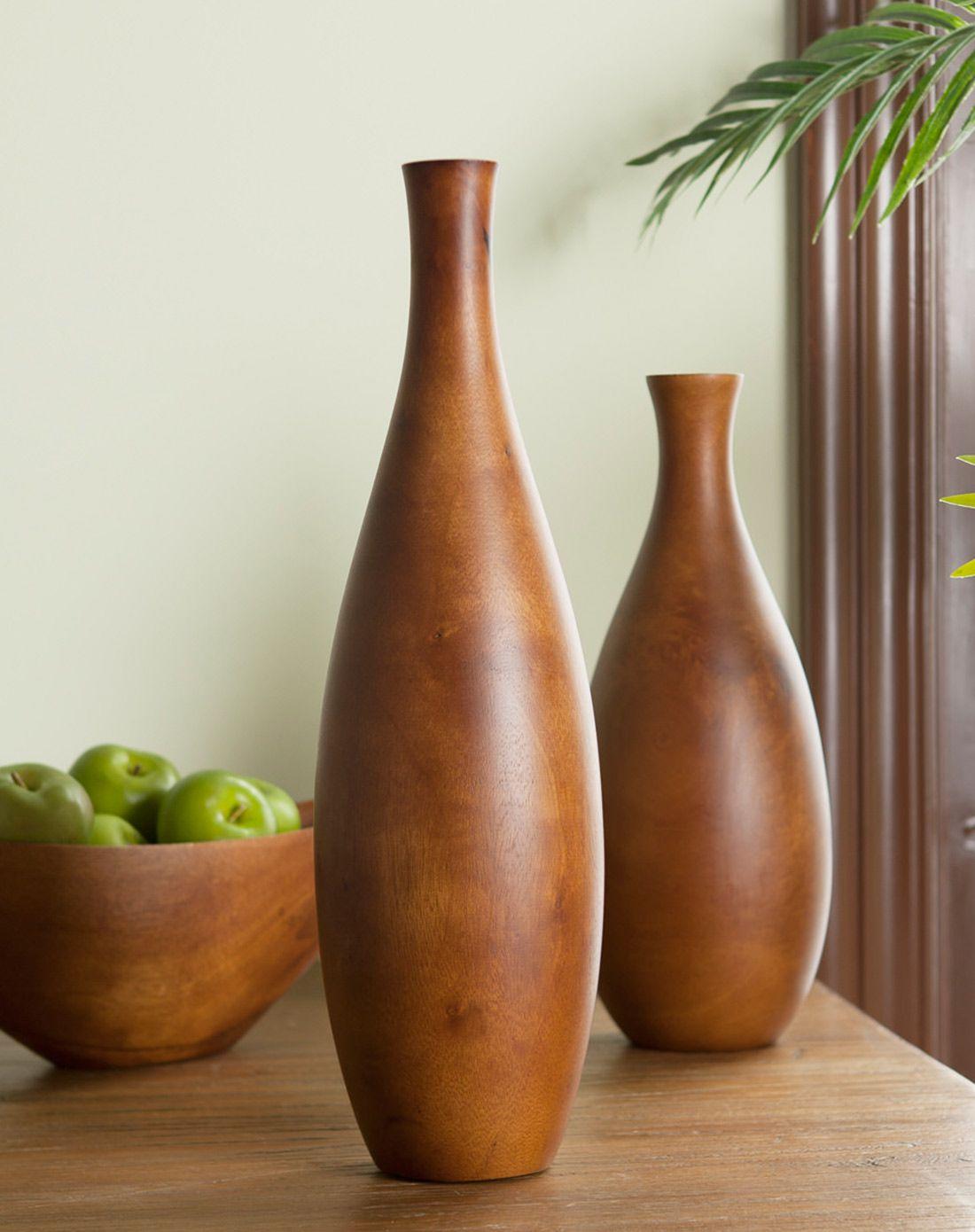 青枝绿叶 深原木色芒果木花瓶,高