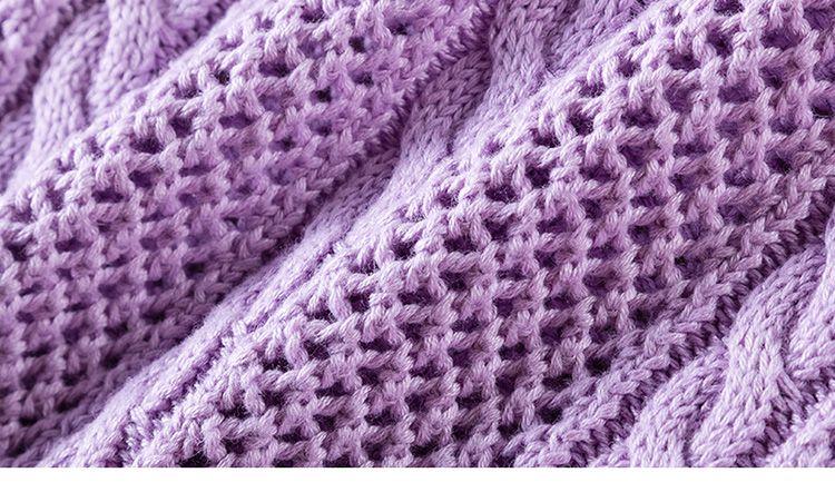紫色针织长袖圆领镂空百搭毛衫上衣